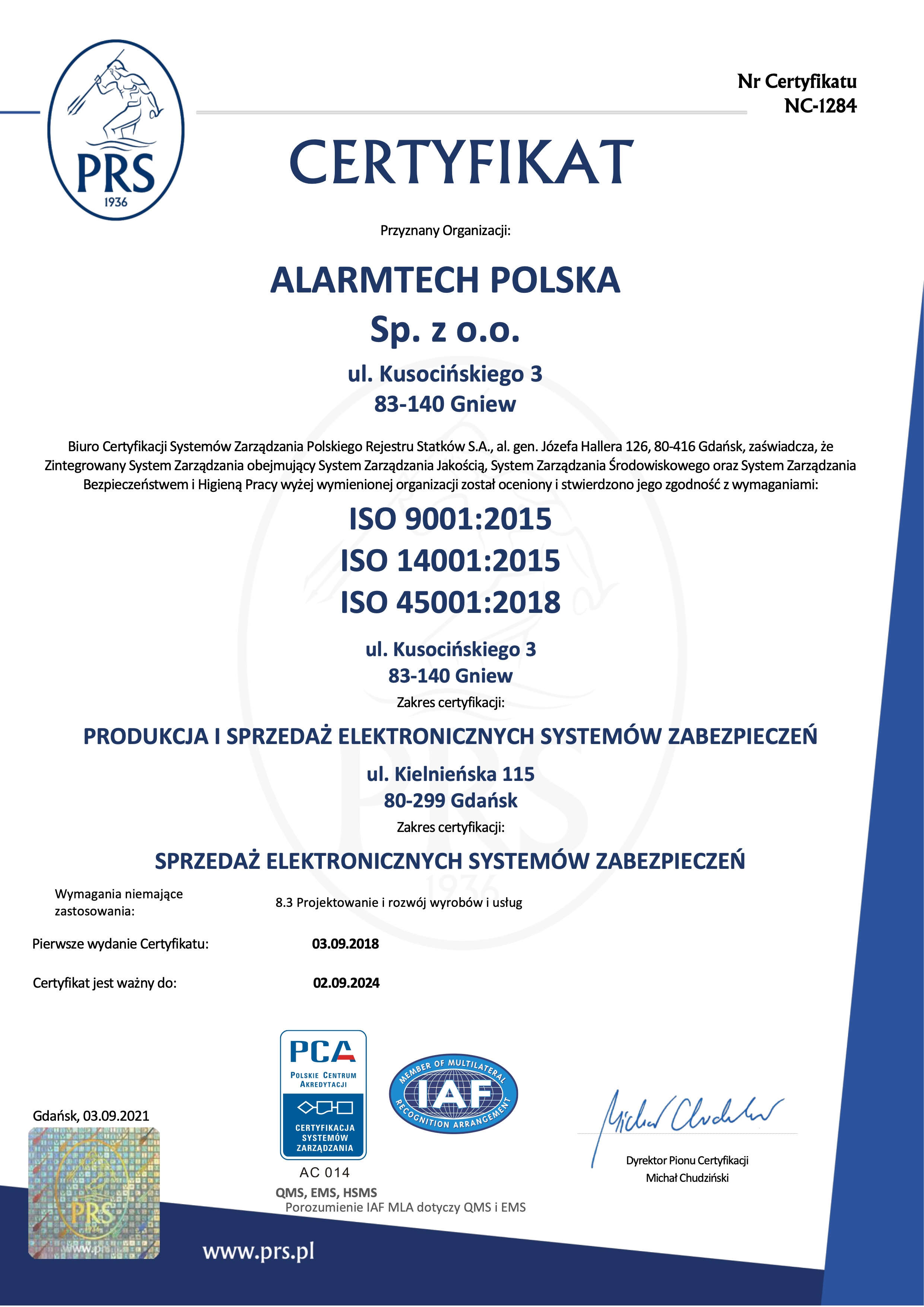 ISO 9001:2015, ISO 14001:2015, ISO 45001:2018