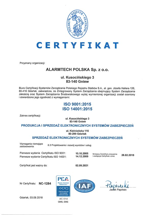 ISO 9001: 2018, ISO 14001: 2015